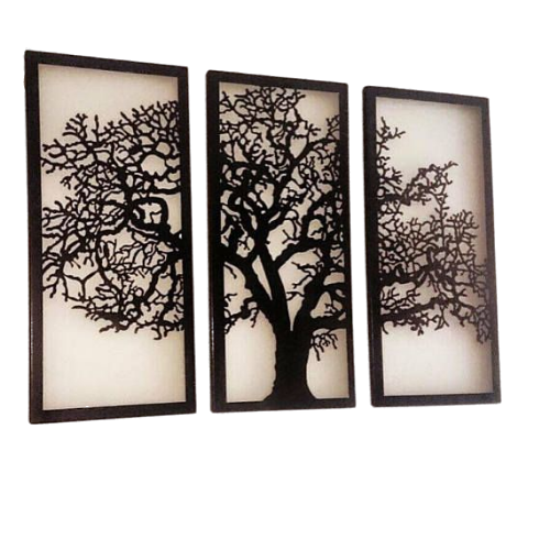 Black Tree  Painting Wall Artifact (Set of 3)
