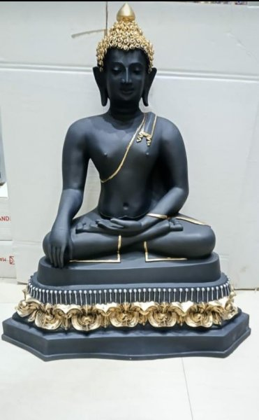 Black Meditating Buddha Statue Table Decor