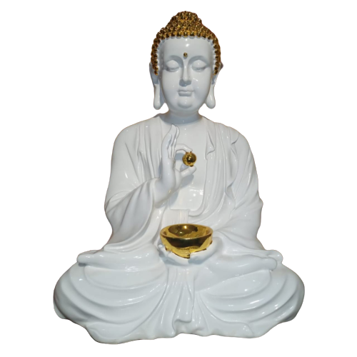 White Meditating Buddha Table Decor