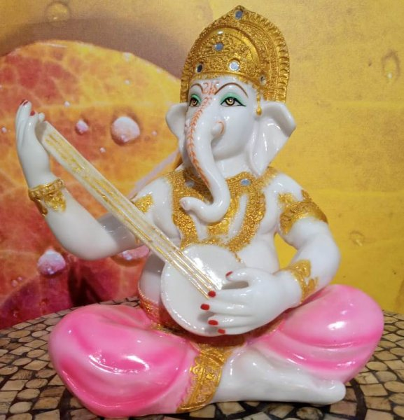 White Pink Ganesh playing Guitar Home Decor