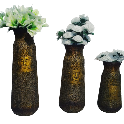 Buddha Face Theme Metal Flower Vase (Set of 3)