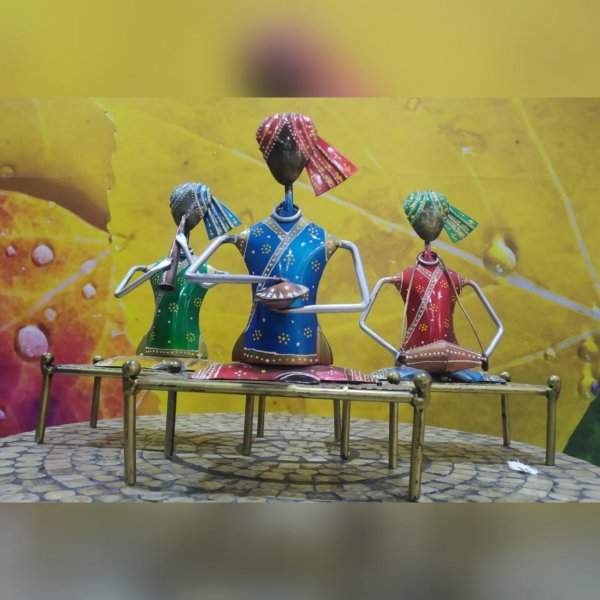 Rajasthani Musician Table Decor Artifact (Set of 3)