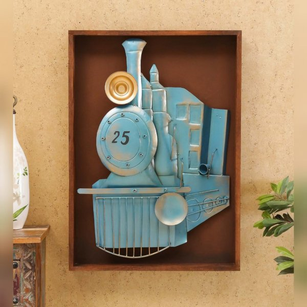 Train Engine on Wooden Bord Wall Decor Artifact