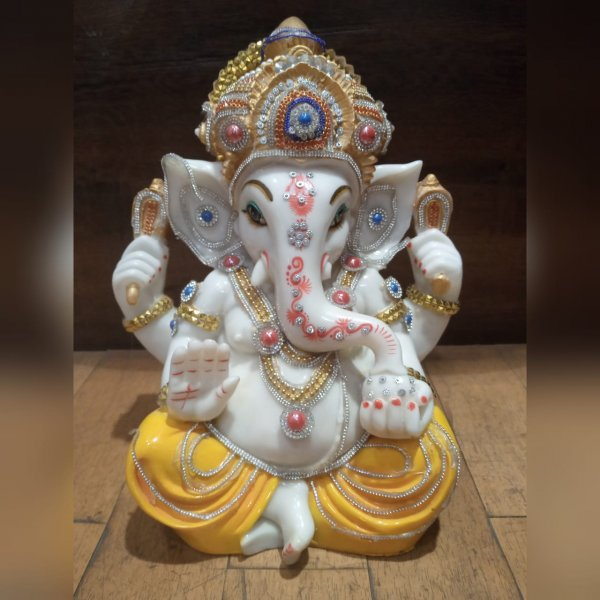White Ganesha With Embroidery Home Decor